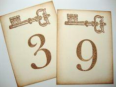 Wedding Table Numbers Skeleton Keys Vintage Style. $15.00, via Etsy.