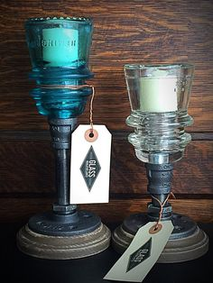Glass Insulator Candle Holders 2 Candle by GlassInsulatorLights