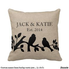 Custom add your own wedding couple names and date, customizable sweet black and white silhouette of sparrow / swallows lovebirds on a branch love bird pattern faux jute linen burlap rustic chic shabby country chic throw pillow - perfect engagement, wedding or anniversary gift.