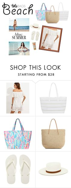 """""""Untitled #136"""" by larisa724 ❤ liked on Polyvore featuring BUCO, Lilly Pulitzer, Target, Havaianas, Janessa Leone and beachtotes"""