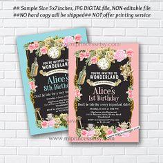 Alice in wonderland invitation Birthday Invitation by miprincess