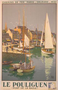 Le Pouliguen Port de La Baule original poster by Alo