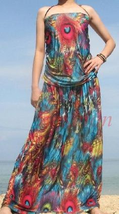 FREE SHIPPING Halter Peacock Evening Long Maxi Dress M L XL