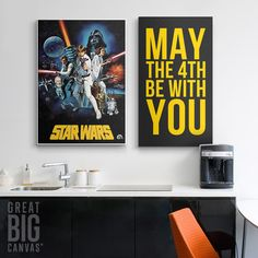 """Star Wars Art, influenced by the series that started a cultural phenomenon. """"Star Wars"""" gallery wrap canvas print. See more sizing and more wall decor options for this iconic Star Wars movie poster canvas print at GreatBIGCanvas.com."""