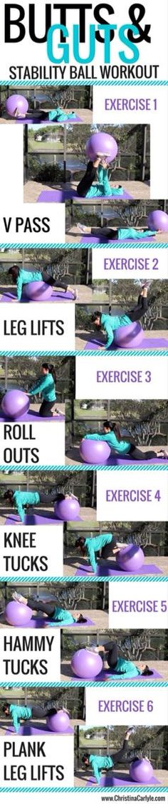 [Butts & Guts Stability Ball Workout via christinacarlyle.com] #workout #fitness