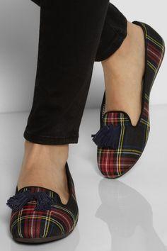 Charles Philip Shanghai|Tasseled tartan slippers