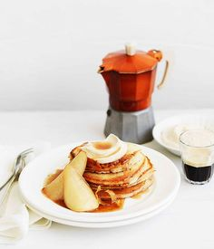 Pancakes with citrus maple-syrup pears and cinnamon maple-spiced ricotta recipe | Gourmet Traveller recipe :: Gourmet Traveller