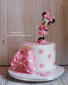 Mini Mouse Birthday Cake, Mini Mouse Cake, Twin Birthday Cakes, Minnie Mouse First Birthday, Mickey Birthday, 2nd Birthday, Minnie Mouse Cake Design, Bolo Da Minnie Mouse, Mickey And Minnie Cake