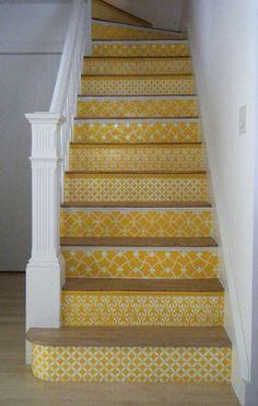 marches, escalier, décoration, déco, bois, béton, métal, contremarches, création, effet, graphique, peinture, revêtement, papier peint, idées, sublimer