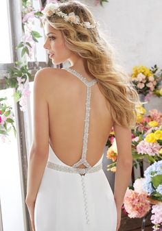 View Dress - Mori Lee Voyage SPRING 2017 Collection: 6857 - Melissa - Crepe with Crystal Beaded Back Straps, Removable Crystal Beaded Net Belt | MoriLee Bridal