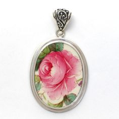 Broken China Jewelry Copeland Spode Jewel Billinglsey Rose Pink Rose Left Facing Oval Pendant