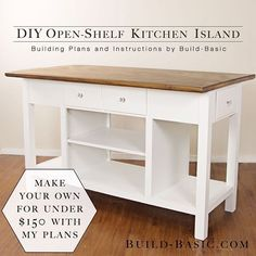 TODAY'S FREE BUILDING PLANS!! Build this Kitchen Island for under $150 in materials! (Link in Profile)  #woodworking #kitchenisland #whitecabinets Kreg Jig® #freeplans #buildingplans #buildbasic #howto #diy #whiteisland #farmhouseisland #farmhousestyle #farmhouse