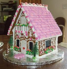 County Fair Pretty Gingerbread House: Came across the pattern and instructions for the Icing Church on the internet a year ago and finally got around to making it.  Entered it in the county
