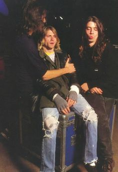 Nirvana during a photoshoot with Joe Giron in London. December 5th, 1991.