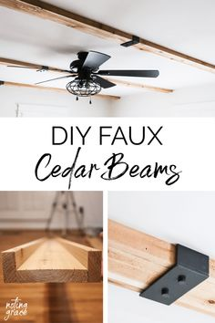 DIY Faux Cedar Beams We are slowly making headway in our master bedroom and this simple DIY has given us our dream room! Here's how to make your own DIY Faux Cedar Beams. Faux Ceiling Beams, Faux Wood Beams, Wood Ceilings, Ceiling Texture, Diy Home Improvement, Farmhouse Decor, Farmhouse Kitchens, Farmhouse Design, Craftsman Kitchen