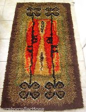 Artistic Shag Rug Excellent, Vivid Hues Hand-Crafted Finnish Rya/Ryijy GORGEOUS