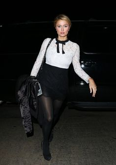 Paris Hilton Night Out Style - w Chateau Marmont w Hollywood - styczeń 2015 Paris Hilton Style, Paris Hilton Photos, Fashion Tights, Tights Outfit, Hot Outfits, Dress Outfits, Dresses, Pantyhose Outfits, Pantyhose Legs