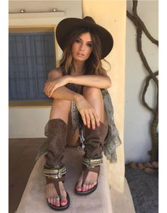 NOW IN STOCK!! Boho High Boot Sandals in Brown We LOVE these boho style, high…