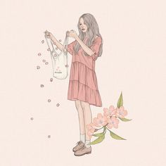 Image shared by Choa Sapo. Find images and videos about girl, pink and art on We Heart It - the app to get lost in what you love. Cute Pastel Wallpaper, Cute Couple Art, Cute Cartoon Wallpapers, Aesthetic Art, Girl Cartoon, Cute Drawings, Cute Art, Art Girl, Illustrators