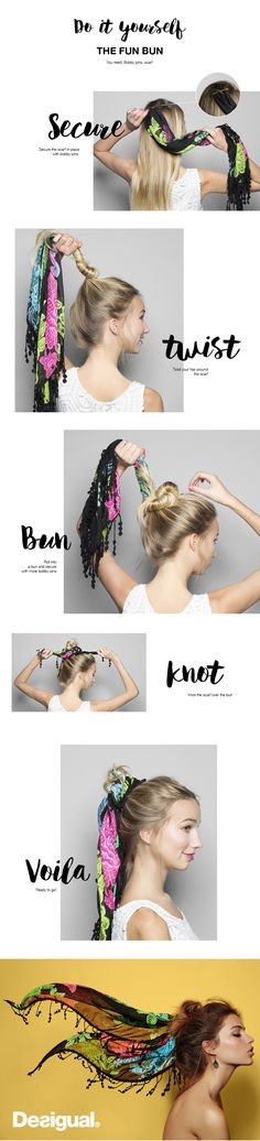 Tired of the same 'ol pony tail? It's time to kick it up a notch with a beautiful foulard, messy bun. The messy bun is a hair style that is appropriate for almost any occasion. From an elegant wedding hair style to quick trip to the corner store, this style offers all lengths of hair an alternative look that is fast and easy to create. Not to mention it's ideal for the summer! Remember, the most important thing is to have fun while you try out your new style and pick a very colorful foulard.