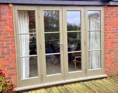Beige French doors with glazing bars