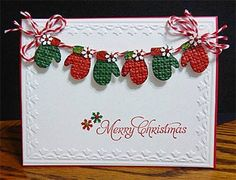 "Sweet Red & Green ""Merry Christmas"" Mitten's Ca,rd.jandjccc - Cards and Paper Crafts at Splitcoaststampers. Christmas Paper Crafts, Homemade Christmas Cards, Christmas Cards To Make, Xmas Cards, Christmas Greetings, Handmade Christmas, Homemade Cards, Merry Christmas, Cricut Christmas Cards"