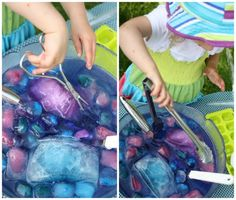 tongs and ice and water activity for preschoolers