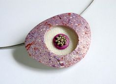 purple lilac copper and pearl triangle polymer clay pendant by OrlyFuchsGalchen