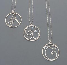 Large Initial Pendant, sterling silver charm, Rachel Wilder Handmade Jewelry. $58.00, via Etsy.