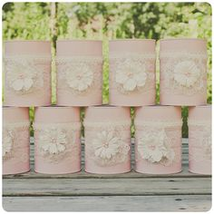 One vintage lace tin can vase. Ivory and pink. Wedding centerpiece. Wedding decor.