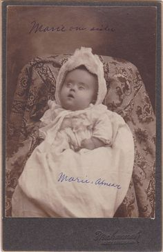 Marie Our Sister- Post Mortem Photo- 1900s Antique Photograph- Dead Baby- Edwardian Mourning- Memorial Cabinet Photo- Paper Ephemera