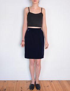 90's velvety skirt navy blue high waisted by WoodhouseStudios