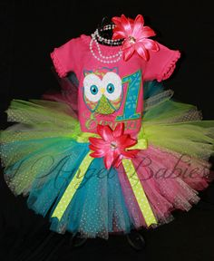 Over the Top Look Whoo's Having a Birthday 3 Piece Owl Turquoise, Lime, & Hot Pink Girls Party Tutu Outfit  Pick size, Colors, Number