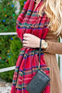 My favorite holiday accessories: a plaid blanket scarf, a bold watch, a classy wristlet, and a skinny belt with a cute clasp.