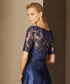 Pronovias > BOADA - Maid of honor dress fitted at the waist with a bateau neckline, lace and tulle