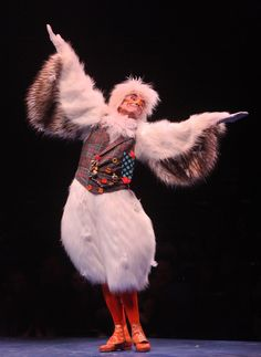 SCUTTLE - really like this one!! Definitely use orange tights and shoes. May prefer fur rather than feather wings? Keep vests snug and not too long. Either one or two points on lower hem of vest. Possibly white and gray?