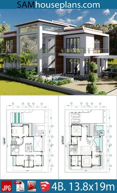 architecture house plans modern 4 Bedroom Home Plan - Sam House Plans Sims 4 House Plans, House Layout Plans, Beach House Plans, Southern House Plans, Luxury House Plans, Dream House Plans, House Layouts, Cottage House Plans, House Design Plans