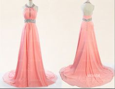 Fast Shipping Halter Pink Long Prom Dress 2015 Simple Cheap Sleeveless Rhinestone Evening Prom Party Gowns