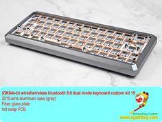 2019 arris aluminum keyboard gray GK64 S bluetooth #rgbkeyboard #diykeyboard #customkeyboardkit #60keyboard #hotswapkeyboard Diy Mechanical Keyboard, Bluetooth Keyboard, Aluminium Alloy, Diy Kits, Usb