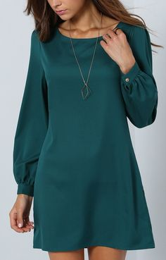 Casual and cute! Love this army green long sleeve dress.