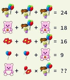 Girl Balloons Teddy Flower Puzzle - with Answer Brain Teasers Pictures, Picture Puzzles Brain Teasers, Math Puzzles Brain Teasers, Brain Teasers Riddles, Brain Teasers With Answers, Logic Math, Math Quizzes, Logic Puzzles, Mind Puzzles