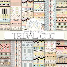 """Tribal digital paper: """"TRIBAL CHIC"""" with tribal, aztec pattern, backgrounds in brown, yellow, mint, soft pink for scrapbooking, invitations"""