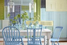 Interior Wall Decorating Ideas - How To Create A Shutter Wall - Country Living. Shutter wall say whaaaa? Dining Room Walls, Dining Room Furniture, Outdoor Furniture Sets, Room Chairs, Kitchen Chairs, Dining Chairs, Dining Table, Office Chairs, Living Room