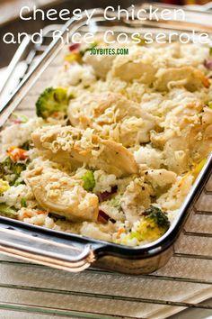Dinner Recipe - Cheesy Chicken and Rice Casserole | JoyBites