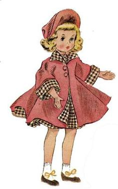 McCalls 1717 doll clothes pattern for Maggie, Alice Alexander dolls. 15 inch dolls 1940s pattern.