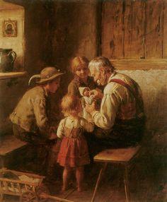 Franz von Defregger (German, 1835-1921) Puppen Reparatur (Ремонт куклы). 1912 г.
