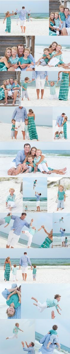 My dream of having beach portraits taken! Beautiful Family Beach Poses family portrait ♥ love the outfit colors!