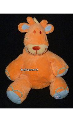 Doudou peluche girafe orange bruin