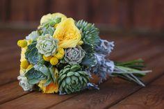 Textured Billy Ball and Succulent Wedding Bouquet