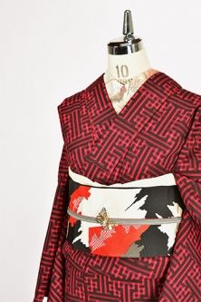 <Img class = 'new_mark_img1' src = 'http: //shimaiya.jp/img/new/icons6.gif' style = 'border: none; display: inline; margin: 0px; padding: 0px; width: auto;' /> red and black of the sheath-shaped pattern modern wool single kimono